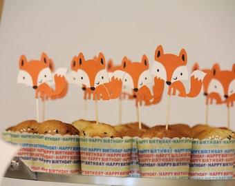 Woodland/fox theme party, 12-piece fox cutout, birthday party,Cupcake topper, cake topper,fox themed birthday