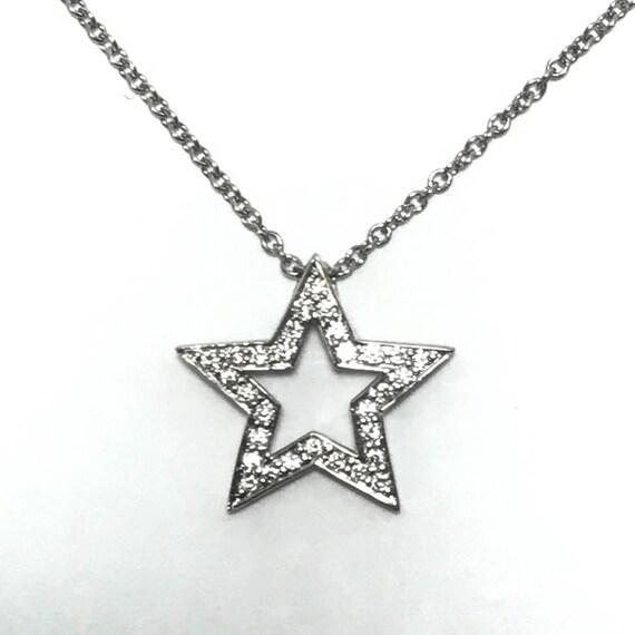 Tiffany & Co. Platinum-PT950 Diamond 5-Point Star Necklace Pendant - LOOK!
