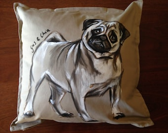 Pug - hand painted cushion cover beige