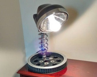 desk lamp made from upcycled motorbike parts, reclaimed table lamp, salvaged vehicle parts
