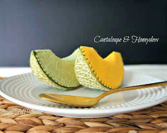 NEW Wool Felt Play Food- Slice of cantaloupe & honeydew melon-Pretend Play Food