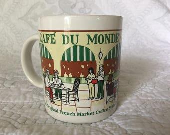Vintage Cafe Du Monde Coffee Mug - The Original French Market Coffee Shop - New Orleans LA - Souvenir Colletible Mug