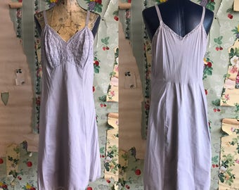 Vintage 1950s Blue Cotton Slip Dress. Medium/Large. Eyelets, lace.