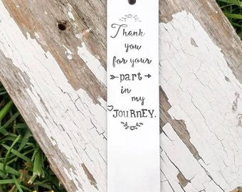 Personalized bookmark, custom bookmark, stamped, scripture, silver bookmark, leather tassel, gift for teacher, bookworm, metal bookmark