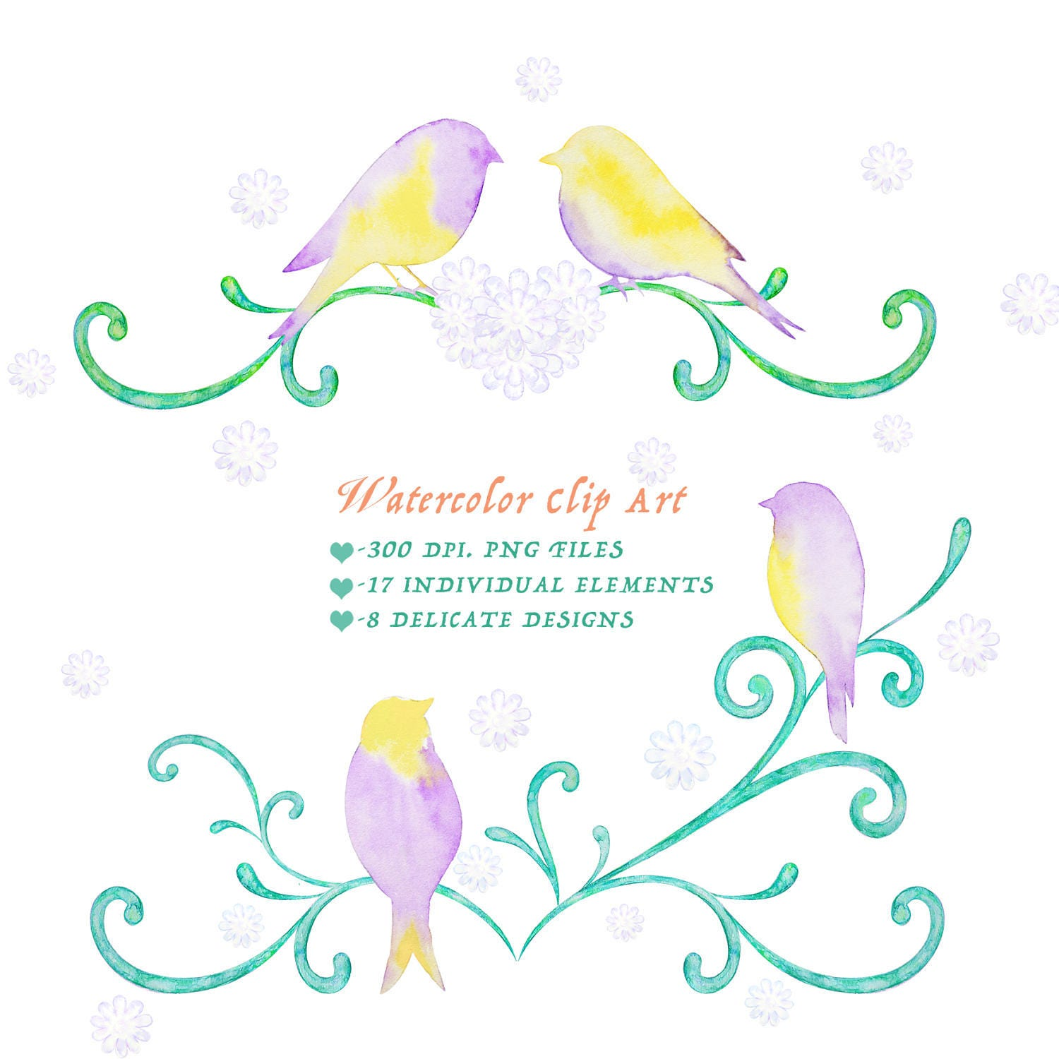 love birds clipart watercolor whimsical family tree with birdies