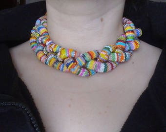 Lariat Crochet Rope Bead Necklace Colorful Handmade Jewelry Casual Gift For Her Must Have