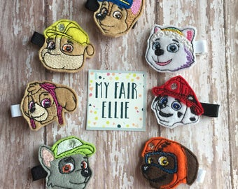 Paw Patrol Clips - Paw Patrol Felties - Paw Patrol Hair Clips - Chase Clip - Rocky Clip - Skye Clip - Rubble Clip - Marshall Clip