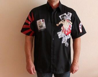 Men's Shirt Sumo  Wrestler Embroidered Shirt Button up Shirt Short Sleeve Dress up Black Mens Shirt Size Extra Large