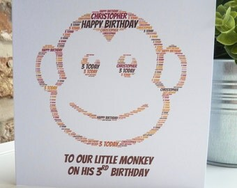 Personalised Monkey Birthday Card, Personalised Child's Birthday Card, Personalised Birthday Card, Monkey Card