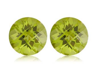 2.10-3.14 Cts of 7 mm AAA Round Checkered Board Chinese Peridot ( 2 pcs ) Loose Gemstones-393426