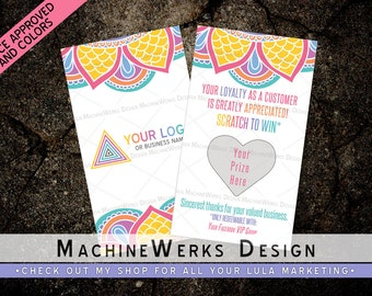 LuLa Scratch Off Cards • LLR Prize Cards •  Giveaway Cards • Home Office Approved Fonts and Colors • LuLa Marketing Materials • MachineWerks