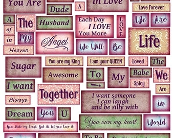 Words of Love Digital Collage Sheet - Words & Phrases - Perfect for Journaling, Altered Art, Scrapbooking, Mixed Media - Instant Download