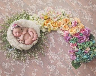 Newborn Digital Backdrop/ Prop / Photography / Rainbow basket / Fresh flowers (Laurel)