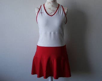 Vintage NIKE dress Vintage Tennis dress Red white dress Teniss skirt dress Activewear dress Sporty mini dress A line dress Tank dress