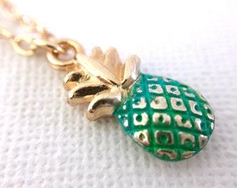 Tiny Pineapple Necklace, Miniature Pineapple Charm Necklace, Gold Pineapple Necklace, Patina Pineapple Necklace, Hawaiian Necklace, Charm