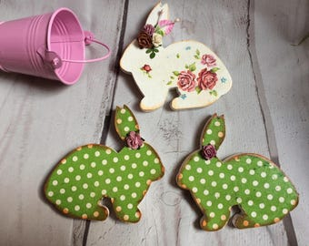 Easter hares, table decor, wooden figures of hares, decoupage.
