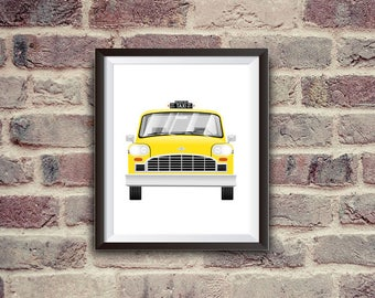 new york taxi, yellow cab, checker, car illustration, nursery decor, instant download, printable art, nyc, digital art