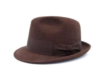 KNOX FEDORA HAT Vintage Brown Fur Felt Mens Custom Edge Fedora Hat 1960's Knox New York Fedora Hat