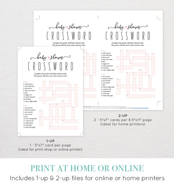 Baby Shower Crossword Puzzle   Baby Shower Games   Printable   DIY Baby  Shower Idea   Instant Download   Digital   PDF File   5x7   #015CW Sc 1 St  Etsy