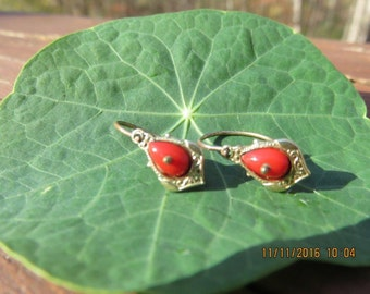 Antique Art Nouveau 10k Gold Coral Earrings from Germany