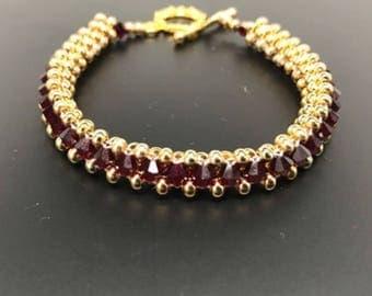 Garnet Swarovski Crystal and 22k gold plated Bracelet