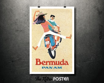 Bermuda, Pan Am Vintage Travel Poster, Wanderlust, Travel Prints, Travel gift, Travel Decor, Holiday, Vacation, Scooter, Travel, Advertising
