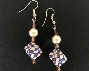 earring - violet and white folded paper and white pearl