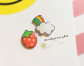 Kawaii Strawberry Rainbow Stud Earrings, Cute Fruit Studs, Cute Mismatched Earrings, Gift for Her, Handmade Birthday gift