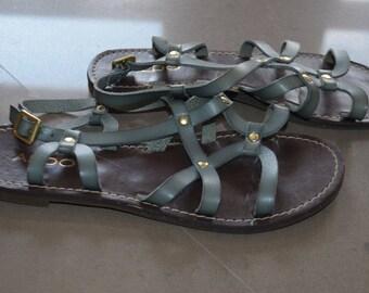 Sale 10 $ + SHIPPING reduced! Sandals flat leather Aldo vintage 90's blue 7 1/2-8
