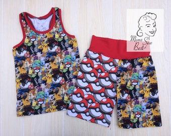 6t Pokemon Shorts and Tank Set