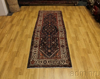 Tribal Navy Hamedan Runner Persian Oriental Area Rug Carpet 4X11