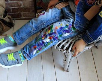 Jeans Boyfriend Jeans in the spray Blots on jeans Spray paint Paint Splatter Jeans festival clothing Hand Painted Paint splash Pop art jeans