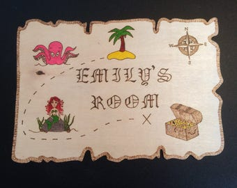 Emily's Room Kids Personalised Wooden Mermaid Pirate Map Door Plaque, Bedroom sign.