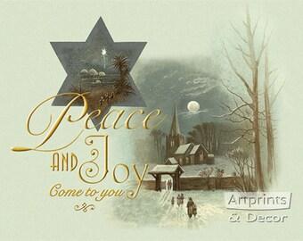 Peace & Joy Come To You Art Print Print of Vintage Art 13 x 10