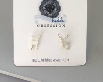 Sterling silver elk earrings