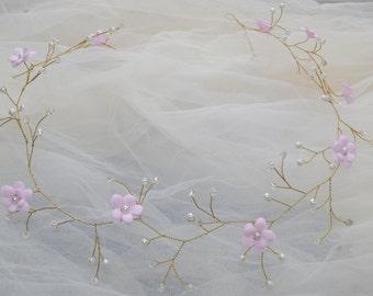 Bridal hair vine Crystal hair piece  pink flower crown wedding headpiece flower crown bridal headband Bridal hair piece pearls head wreath