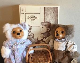 Limited Edition Robert Raikes Original Alec & Allison Picnic Pair Bears- Vintage Wooden Faced Teddy Bears- Applause Raikes Bears