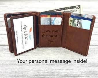 Trifold Wallet * Monogrammed wallet • Personalized Valentines Gift • Men's wallet • Birthday gift for man  Personalized wallet Toffee** 7133