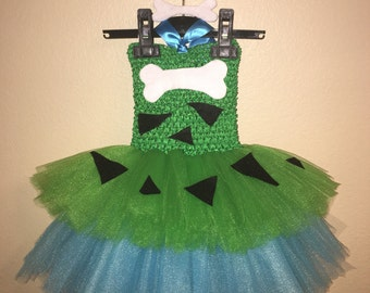 Pebbles Inspired Tutu Dress Plus With Your Choice Of Matching Headband Or Bow.