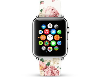 Apple Watch Band 38mm women, Apple Watch band 42mm for 1 & 2, Apple Watch Strap genuine Calf Leather Wrist Band pink rose floral pattern