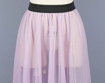 Mesh Elastic Band Sheer Skirt/Custom Womens Sheer Mesh Skirt/ ( + Colors )