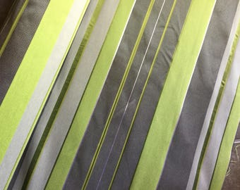 Lime Green & Gray Stripes Upholstery Fabric - By The Yard