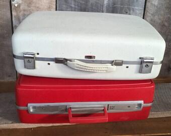 Vintage suitcase, white, luggage, j.c. Higgins, travel, decor, shabby chic, bag, storage, case, retro, hardshell, cottage,repurpose, country