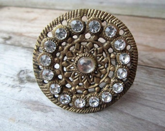 Bronze Decorative Diamante Wheel Drawer Knob Drawer Pull