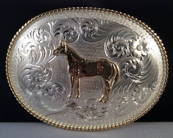 Vintage Montana Silversmiths Horse Belt Buckle - Two Toned