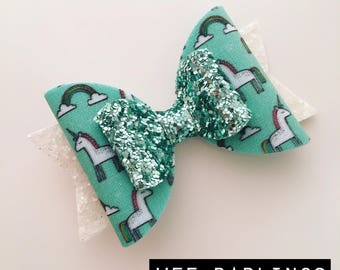 Mint Unicorn Fabric and Glitter Hair Bow - Handmade