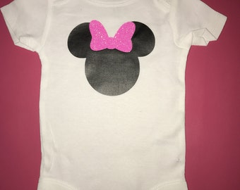 Baby girl Minnie Mouse onesie pink glitter onesie
