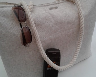 Beach bag/Tote in linen effect matt oilcloth, Oilcloth beach bag/tote, Oilcloth bag, Oilcloth beach tote, Gift for her, Oilcloth beach bag