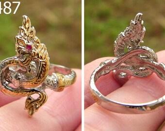 Power Sterling Silver Gold Trim NAGA Serpent Snake Ring w/ Ruby Eye Size 7 #5487