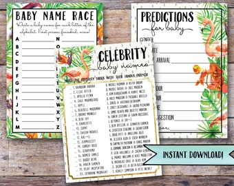 Baby shower game set, baby shower games, tropical baby shower games, printable baby shower games, digital baby shower game set (Lana)